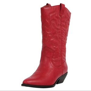 Shoes - Red cowboy knee high pull on boot